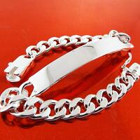 ID Bracelet Bangle Real 925 Sterling Silver S/F Solid Men's Curb Link Design