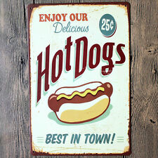 ENJOY OUR Delicious Hot Dogs BEST IN TOWN wall decals metal tin signs