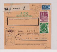 Bizone/Bauten, 93eg, MiF 128, Paketkarte Gießen, 26.2.52