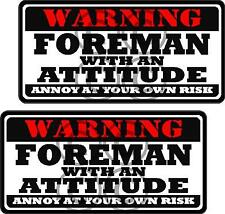 """2 - 3"""" Foreman Worker Warning Tools Motorcycle Decal Hard Hat Sticker WS1"""