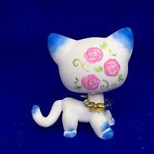 Littlest Pet Shop, Short Hair Cat, Pink Flowers, Ooak Custom, Hand Painted, Lps