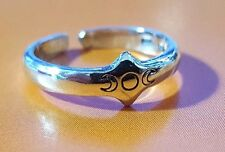 925 Sterling Silver TRIPLE MOON, Maiden Mother Crone, Toe Ring Adjustable Pagan