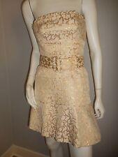BCBG Max Azria Silk Metallic Gold Strapless Belted Mini Dress sz 0