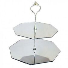 Two Tier Silver Mirrored Octagon Cake Stand Acrylic