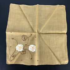 Lovely Vintage Handkerchief Brown White Applique Embroidered Hanky VTG Floral