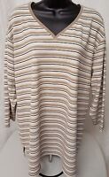 White Stag Womens Brown White Black Striped Shirt Top Blouse Size 22W 24W