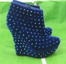 "BLUE Spike 5.5"" Wedge Heel 1.5"" Platform Sexy Ankle Boot Size 5.5"