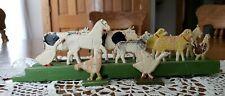 Antique Ludwig Hestermann Spielwaren German Wood Platform Pull Toy Farm Animals