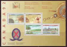 CANADA 1992 JEUNES PHILATÉLIQUE EXPOSITION BLOC-FEUILLET NON MONTÉS