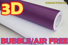 3m Violet (118in) x 1,52 m air free 3d en fibre de Carbone Wrap Autocollant Vinyle Véhicule