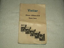 Vivitar 85mm-205mm f3.8 Zoom Lens Manual