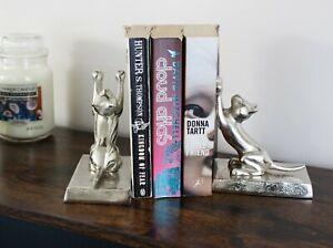 Silver Cat Bookends Home Decorative Shelf Sitter Animal Ornament Aluminium Gift