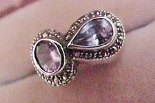 Vintage Marcasite Two Stone Sterling Silver 925 Estate Ring