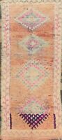 Vintage Geometric Authentic Moroccan Oriental Runner Rug Hand-knotted Nomad 4x11