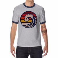Ride The Wave Ringer Men's T-shirts Cotton Short Sleeve Raglan Tops Tee shirts
