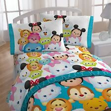 Disney Tsum Tsum Character Teal Microfiber 3 Piece Twin Sheet Set NIP