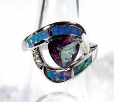 Sterling 925 Silver SF Size 9 Ring Rainbow Lab Fire Opal & 7mm Rainbow Topaz