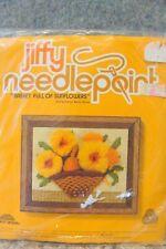 Jiffy Needlepoint Basket Full of Sunflowers #5228 Kit New