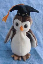 #09 TY Beanie Baby Beanies (stuffed Toy) Bird Birds Select Wise Owl Ca. 15 Cm Graduation 1998
