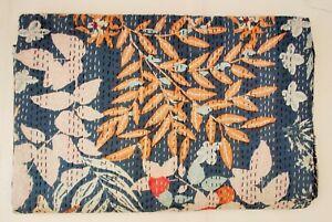 Hand Block Print Indian Kantha Quilt Floral Blanket Cotton Coverlet Bedding V