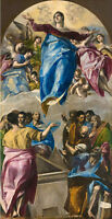 "Handpainted Oil painting portraits The assumption with men Saints angels 24""x48"""