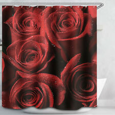 Red Roses Dew Drops Flowers Fabric Shower Curtain 70x70 Romantic Floral