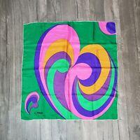 """Vintage 70s? Graphic Caruso Scarf Colorful Mod Silk? 30"""" Square"""