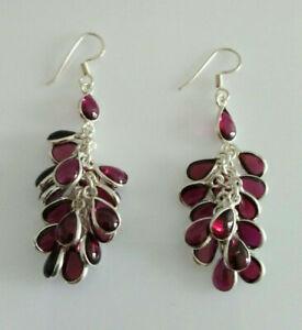 Sterling Silver Garnet Cluster Drop/Dangle Earrings