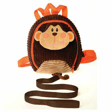 "Backpack 11"" Plush Monkey Corduroy Detachable Harness Leash Age 3+ NEW"