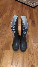 Tretorn Women's Rain Boots Pull on Rubber Black White 38 M EU/7M US