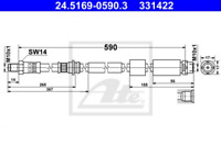 Bremsschlauch für Bremsanlage Vorderachse ATE 24.5169-0590.3