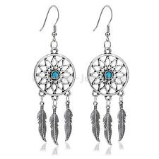 Trendy Women Fashion Jewelry Dream Catcher Feather Charm Pendant Drop Earrings