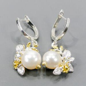 Vintage Pearl Earrings Silver 925 Sterling   /E57373