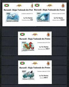 Burundi 2011 Sc#896a-d  Fish & Marine Life  MNH Imperf. Mini Sheet Set $15.00