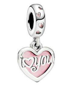 'I Love You' Heart Charm Bracelet Bead Sterling Silver S925 - Gift for Christmas