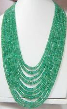 570 Cts Super Fine Quality 100% Natural Zambian Emerald Roundel Beads Necklace