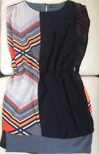 WAREHOUSE UK10 Silk Tunic/Dress. Lined. Geometric Pattern Stripped Black Orange