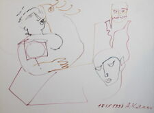 1993 Abstract portrait figures watercolor drawing signed