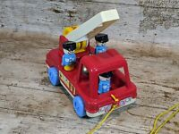 Vintage 1970s Matchbox Live And Learn Pull Along Fire Engine with Fire Fighters