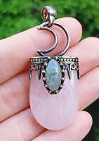 Rose Quartz Labradorite Stone Pendant Energy Reiki Healing Amulet