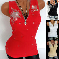 Summer Womens Rhinestone Zipper Sleeveless Vest Tank Tops T-shirts Blouse Shirts