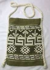 GREECE Vtg Loomed Fabric Hobo Bag Hippie Cross Body Purse Tote Olive Sage Green
