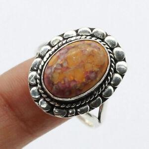 Orange Turquoise 925 Silver Plated Handmade Gemstone Ring US Size 8 Ethnic Gift
