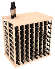 Wooden Double Deep Tasting Table Wine Rack with Solid Top in Pine. Usa Made.