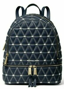 🌞MICHAEL KORS RHEA ZIP BACKPACK NAVY ADMIRAL QUILTED LEATHER TRAVEL BAG🌺NWT