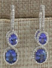 7.78 Carat Natural Tanzanite 14K White Gold Diamond Earrings