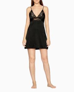 Calvin Klein Women's Petal Lace Chemise Black XL   QS6322
