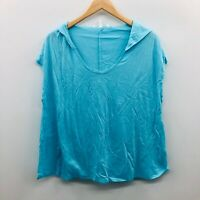 Victorias Secret Womens Medium Sleeveless Dream Hoodie Tank Top Spa Blue 873