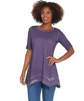 LOGO by Lori Goldstein Plus 2X Distressed Cotton Slub Top w/ Lace Black Violet