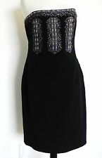 David Meister  Little Black Dress Strapless Size10 Silk Sequined Bead Embroidery